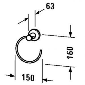 Duravit D-Code Towel Ring – chrome