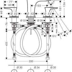 Hansgrohe Puravida 3-Hole Basin Mixer Tap 100 with Push-Open Waste