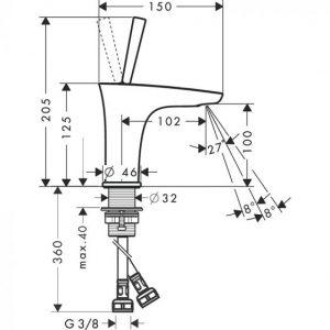 Hansgrohe PuraVida Single Basin Mixer Tap for Small Basins with Waste Set – Chrome