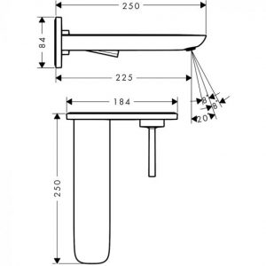 Hansgrohe Puravida Single Lever Basin Mixer Tap For Concealed Installation with Spout 22.5 Cm
