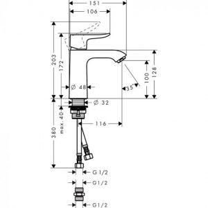 Hansgrohe Metris Single Lever Basin Mixer Tap 110 Min. 0.5 Bar without Waste