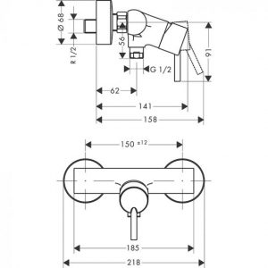 Hansgrohe Talis Single lever Manual Shower Mixer Valve for exposed installation