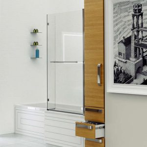 Kudos Inspire L-Shaped Bath Screen with Rail 1500mm x 810mm 5mm Glass
