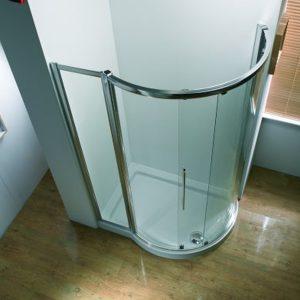 Kudos Original Offset Curved Sliding Corner Shower Enclosure 1270mm Wide Silver