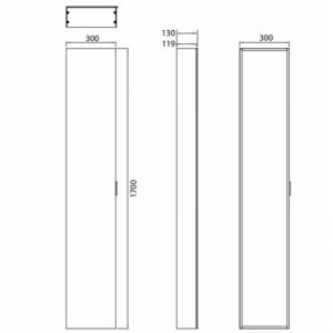 HiB Eris 30 Non Illuminated tall mirror Cabinet – 300mm Wide