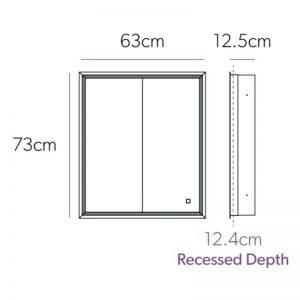 Hib Vanquish 60 Illuminated Recessed Mirror Cabinet – 630mm Wide