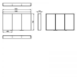 HiB Eris 120 Non Illuminated mirror Cabinet – 1200mm Wide