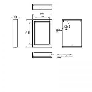 HiB Edge 50 Illuminated mirror Cabinet – 500mm Wide