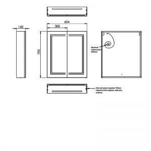 HiB Edge 60 Illuminated mirror Cabinet – 600mm Wide
