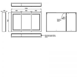 HiB Edge 120 Illuminated mirror Cabinet – 1200mm Wide