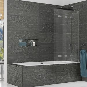 Kudos Inspire Four Panel In-Fold Bath Screen 1500mm High x 875mm Wide LH 8mm Clear Glass