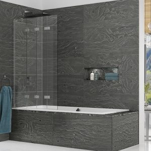 Kudos Inspire Four Panel In-Fold Bath Screen 1500mm High x 875mm Wide RH 6mm Clear Glass