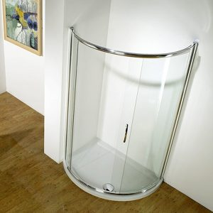 Kudos Infinite Semi-frameless Offset Curved Slider Corner Shower Enclosure Side Access 1000mm Wide Silver