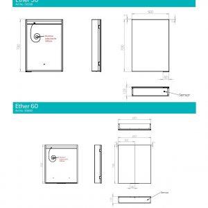 HiB Ether 60 Illuminated mirror Cabinet – 600mm Wide