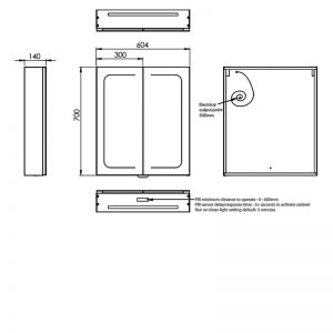 HiB Vapor 60 Illuminated mirror Cabinet – 600mm Wide