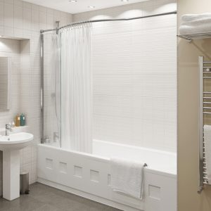 Kudos Inspire Over Bath Shower Panel with Bow Corner Rail 8mm Glass 1500mm High x 350mm Wide