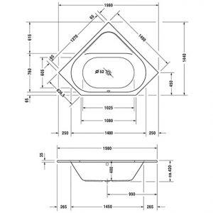 Duravit D-Code Corner Bath – 1400mm x 1400mm – White Alpin