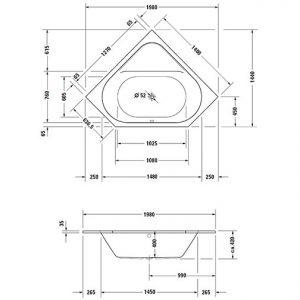 Duravit D-Code Corner Bath With Feet – 1400mm x 1400mm – White Alpin