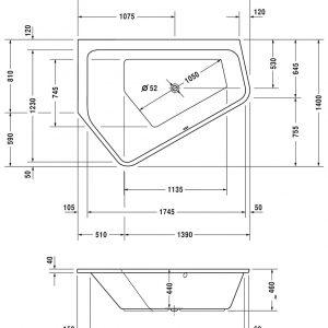 Duravit Paiova 5 Left corner Bath – 1900mm x 1400mm – White Alpin
