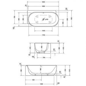 Duravit Luv Ovel Right Corner Bath – 1850mm x 950mm – White