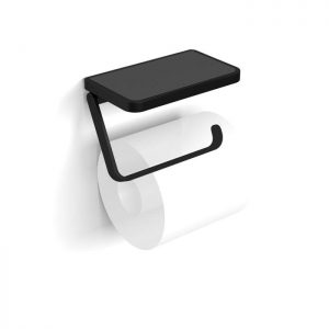 HiB Atto Toilet Roll Holder with Shelf & Anti-Slip Mat – 140mm Wide – Black