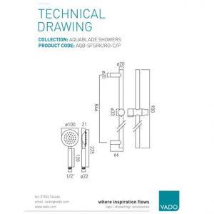 Vado Aquablade Round Single Function Slide Shower Rail Kit Chrome