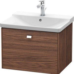 Duravit Brioso 1 Drawer Vanity Unit With Basin – 650mm – No TH – Chrome/Walnut Dark