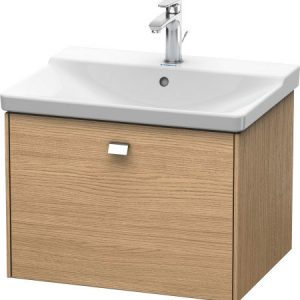 Duravit Brioso 1 Drawer Vanity Unit With Basin – 650mm – No TH – Chrome/European Oak