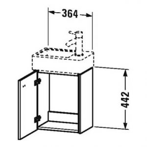 Duravit Brioso 1 Door Vanity Unit With Basin – 380mm – RH – 1 TH – Basalt Matt