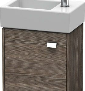 Duravit Brioso 1 Door Vanity Unit With Basin – 380mm – RH – 1 TH – Chrome/Pine Terra