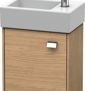 Duravit Brioso 1 Door Vanity Unit With Basin – 380mm – RH – 1 TH – Chrome/European Oak