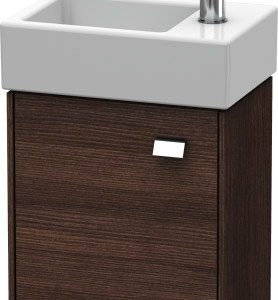 Duravit Brioso 1 Door Vanity Unit With Basin – 380mm – RH – 1 TH – Chrome/Chestnut Dark