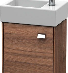 Duravit Brioso 1 Door Vanity Unit With Basin – 380mm – RH – 1 TH – Chrome/Natural Walnut