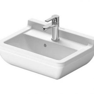 Duravit Starck 3 Basin With Semi Pedestal And Overflow – 500mm Wide – 1 Tap Hole – White