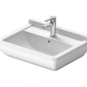 Duravit Starck 3 Basin With Full Pedestal And Overflow – 600mm Wide – 1 Tap Hole – Wonder Gliss