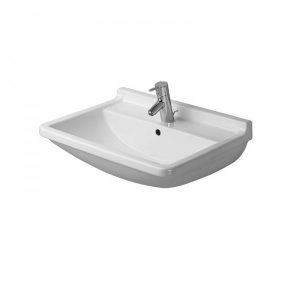 Duravit Starck 3 Basin With Semi Pedestal And Overflow – 650mm Wide – 1 Tap Hole – White