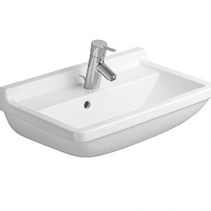 Duravit Starck 3 Compact Basin With Semi Pedestal And Overflow – 600mm Wide – 1 Tap Hole – Wonder Gliss