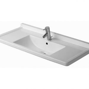 Duravit Starck 3 Basin With Semi Pedestal And Overflow – 1050mm Wide – 1 Tap Hole – White