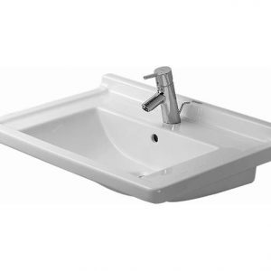 Duravit Starck 3 Basin With Semi Pedestal And Overflow – 700mm Wide – 1 Tap Hole – White