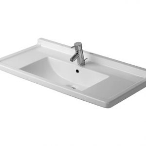 Duravit Starck 3 Basin With Semi Pedestal And Overflow – 850mm Wide – 1 Tap Hole – White