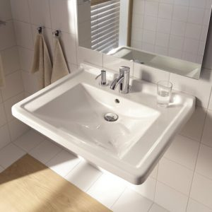 Duravit Starck 3 Wall Hung Basin With Overflow And Soap Dispenser Left – 600mm Wide – 1 Tap Hole – White