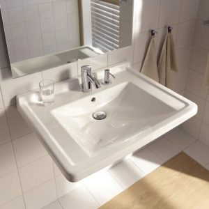 Duravit Starck 3 Wall Hung Basin With Overflow And Soap Dispenser Right – 700mm Wide – 1 Tap Hole – White