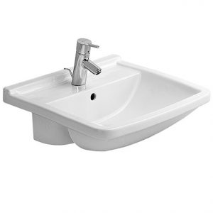 Duravit Starck 3 Semi Recessed Basin With Overflow – 550mm Wide – 1 Tap Hole – White