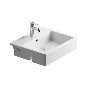 Duravit Vero Semi Recessed Basin With Overflow – 550mm Wide – 1 Tap Hole – White