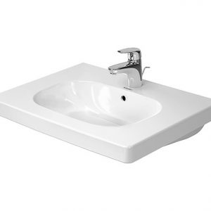 Duravit D-Code Basin With Semi Pedestal And Overflow – 650mm Wide – 1 Tap Hole – White