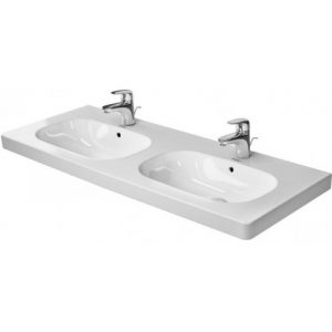 Duravit D-Code Basin With Full Pedestal And Overflow – 1200mm Wide – 1 Tap Hole – White