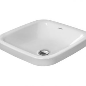 Duravit DuraStyle Square Countertop Basin – 430mm Wide – No Tap Hole – White