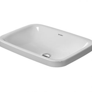 Duravit DuraStyle Square Countertop Basin – 600mm Wide – No Tap Hole – White