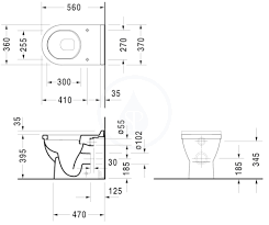 Duravit Stark 3 Washdown Rimless Back To Wall Toilet With Seat – White