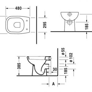 Duravit D-Code Horizontal Outlet Back to Wall Toilet With Soft Close Seat – Hygiene Glaze